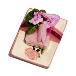 Aarden schaaltje met zeep 100 gr en cigale/rozen